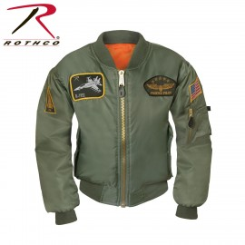 CHAQUETA AVIADOR PARCHES VERDE KIDS ROTHCO