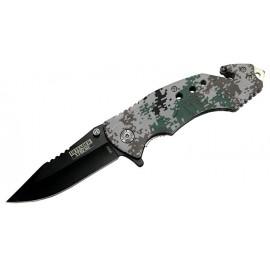 Cuchillo plegable digital Woodland Camo con y cortador de cinturón