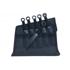 Set de 6 cuchillos para lanzar totalmente negros Defender-Extreme 6.5